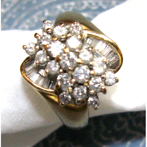 14K Genuine Diamond Cluster Ring