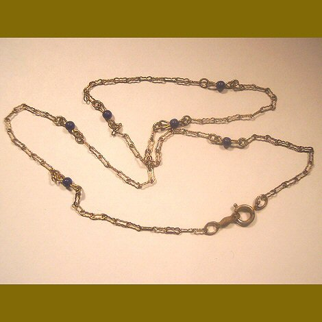 12K GF Peanut Chain and Lapis Necklace