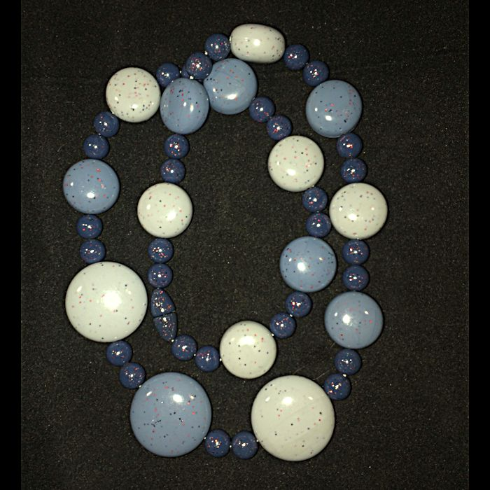 Three-Tone Blue Glitter Disk Necklace