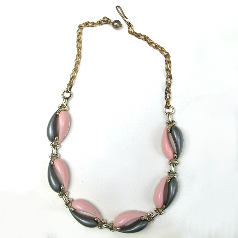 Pink and Grey Thermoset Necklace
