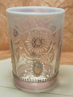 Northwood Glass Jewel and Flower Tumbler