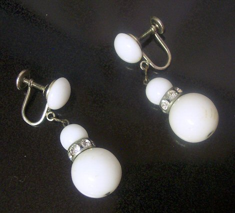 Western Germany Milk Glass and Channel Set Rhinestone Earrings
