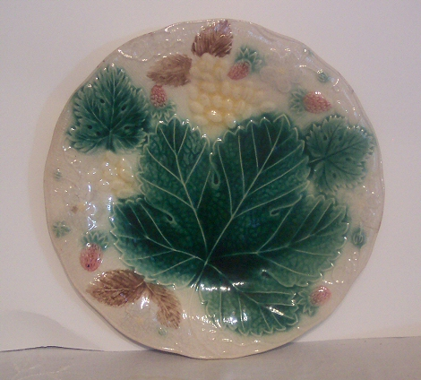 Strawberry, Grapes and Leaves Majolica Plate