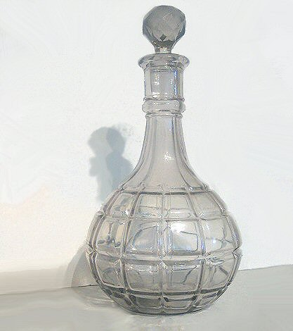 Iridescent Victorian Mold Blown Water Decanter w/ Stopper
