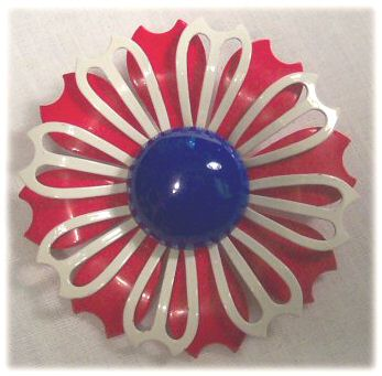 Patriotic Enameled Flower Pin
