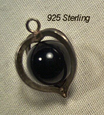 925 Sterling and Polished Onyx Pendant