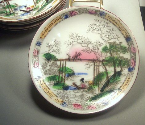 Occupied Japan Handpainted Dishes - Set of 6