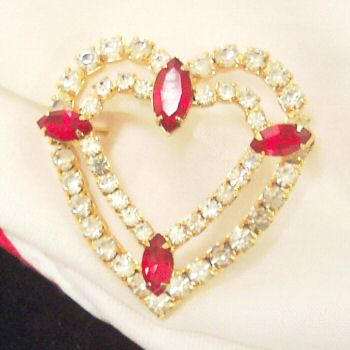 Red RS Double Heart Pin