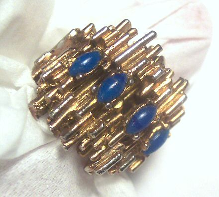 Huge Ring with Natural Lapis Lazuli Stones Size 7