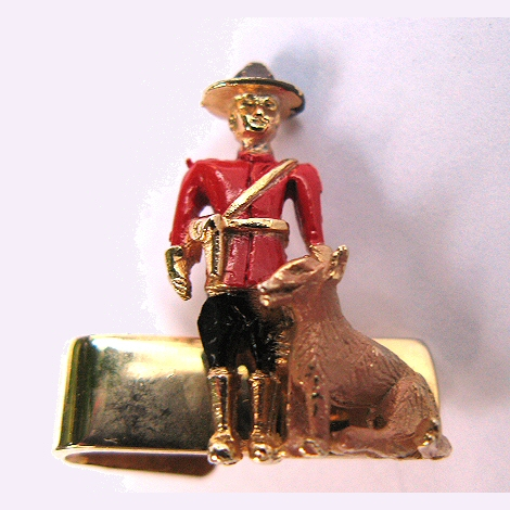 Sarah Coventry Canadian Mountie and Dog Tie Clip