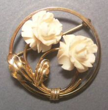 Van Dell G.F. Carved Ivory Circle Pin