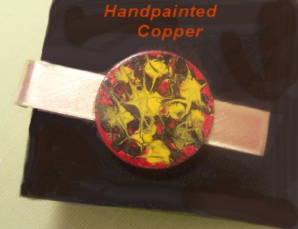 YJ ORIGINALS Handpainted Copper Tie Clasp - Hot Splash